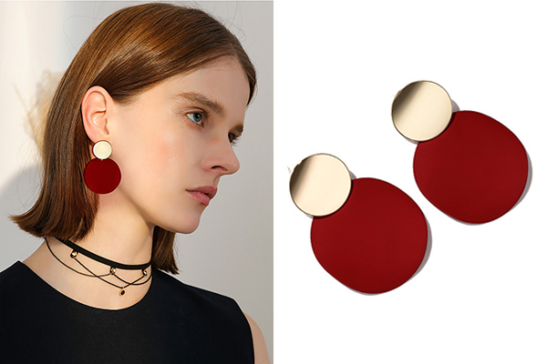 Gold And Matte Red Circle Earrings