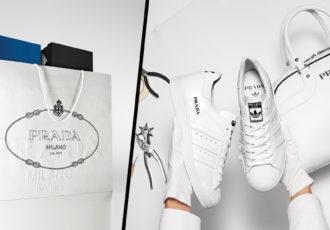 prada adidas sneakers bowling bag