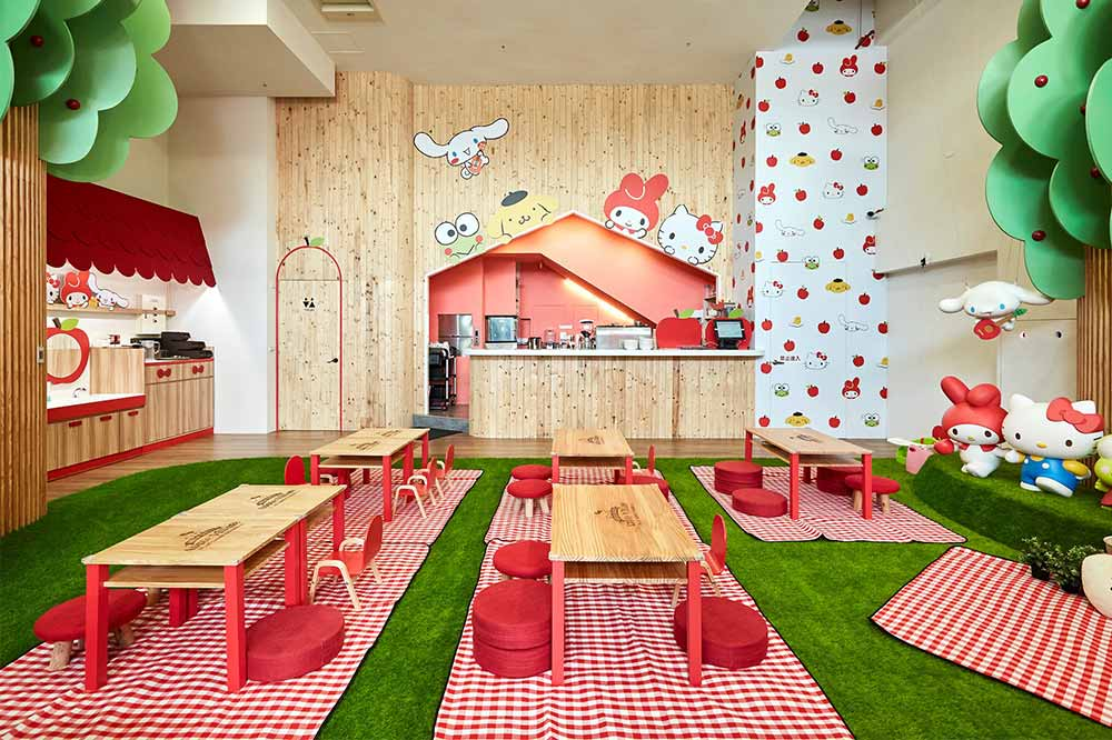 hello kitty theme parks cafes apple village