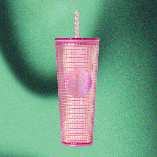 starbucks holiday 2020 pink grid cold cup