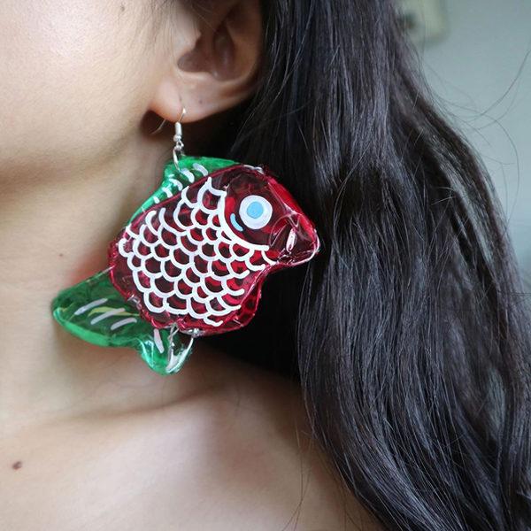 mooncake earrings fish lantern