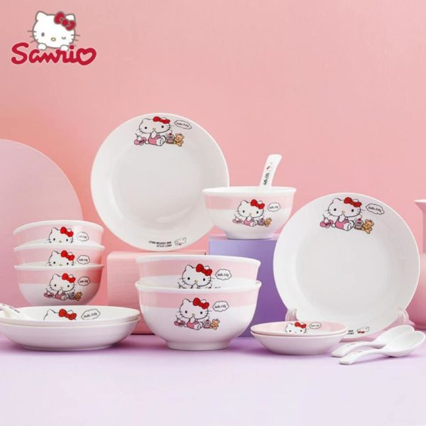 hello kitty tableware pink set