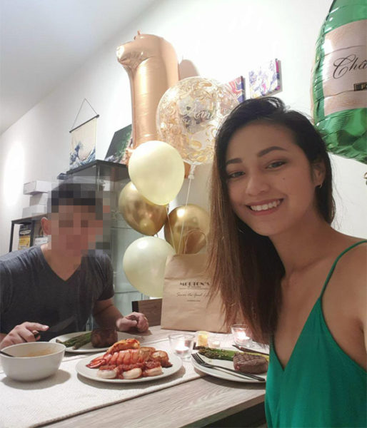 Jessica Fang's selfie with husband during cb dinner at home