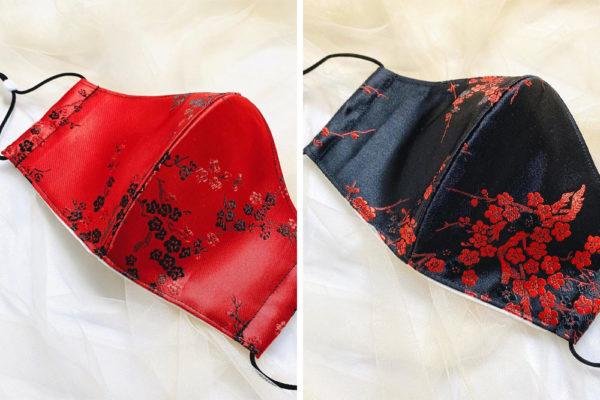 cheongsam face mask red black