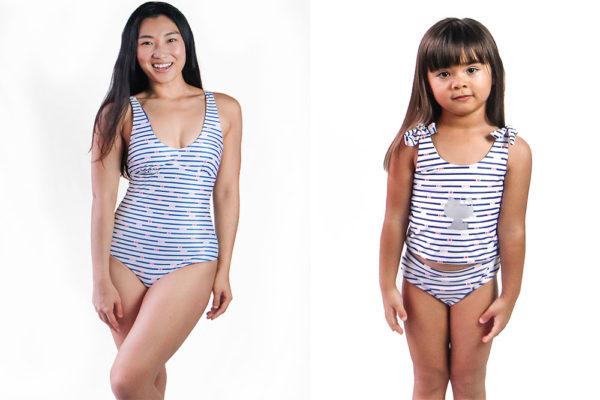 hello kitty swimsuits stripes