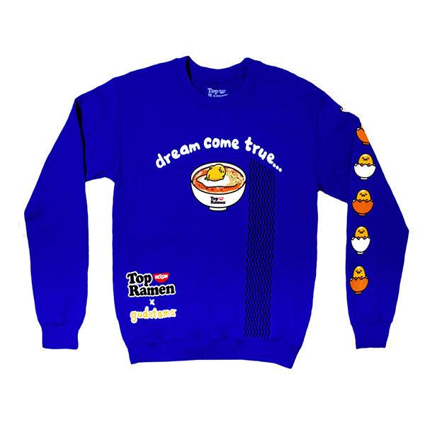 sanrio nissin cup noodles gudetama blue sweatshirt