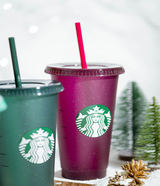starbucks glitter cold cup set close up