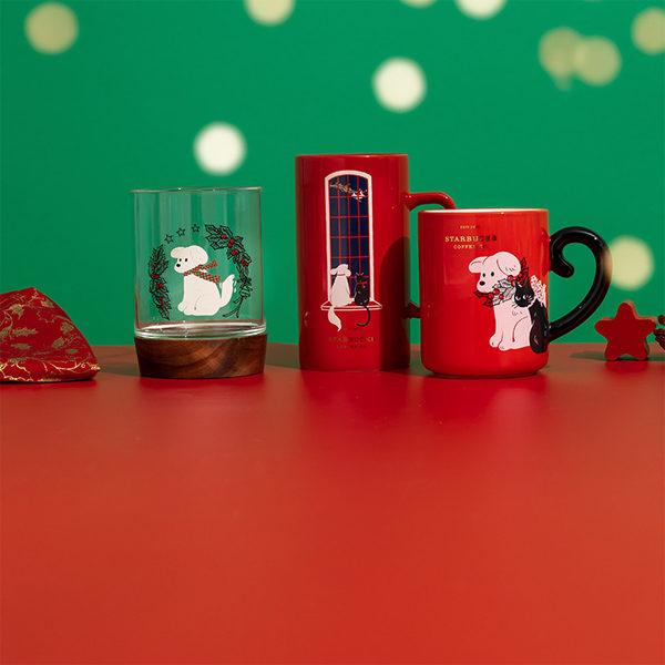 starbucks christmas 2020 puppy mugs and glass