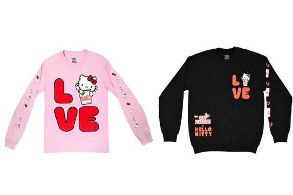 sanrio nissin cup noodles hello kitty love sweatshirt collage
