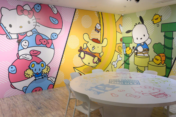 sanrio rock climbing gym dining area interior