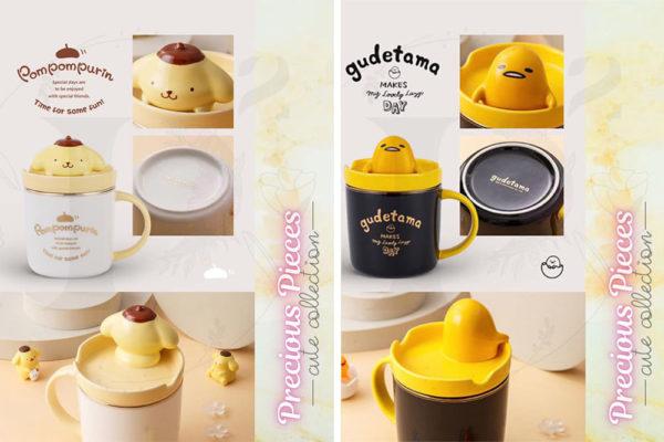 pompompurin and gudetama creative phone holder sanrio mugs