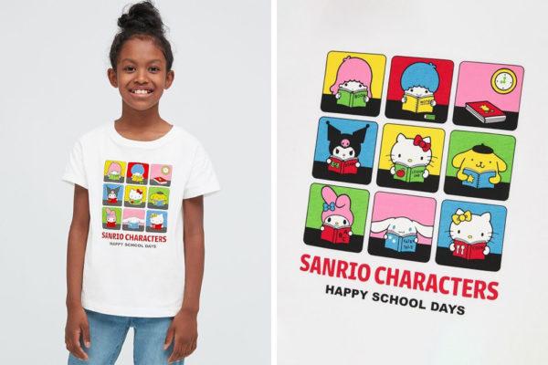 uniqlo x sanrio characters grid girls' shirt