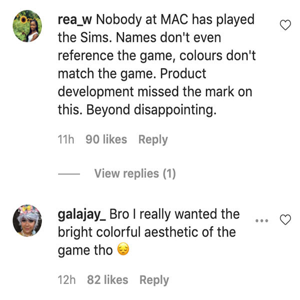 mac x the sims ig comments ss 1
