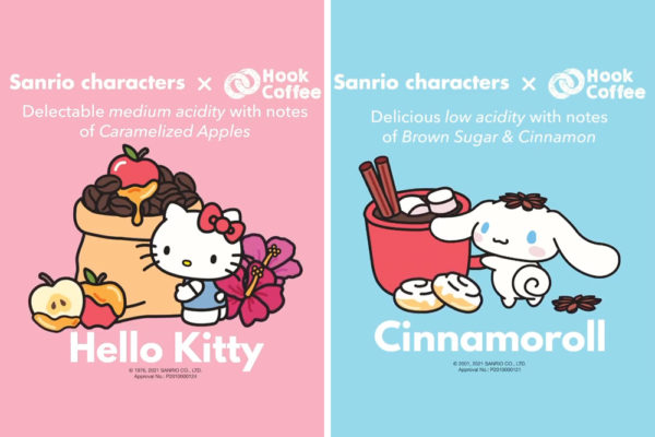 sanrio x hook coffee hello kitty and cinnamoroll