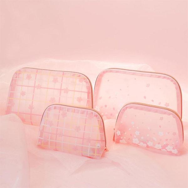 daiso korea cherry blossom makeup bag