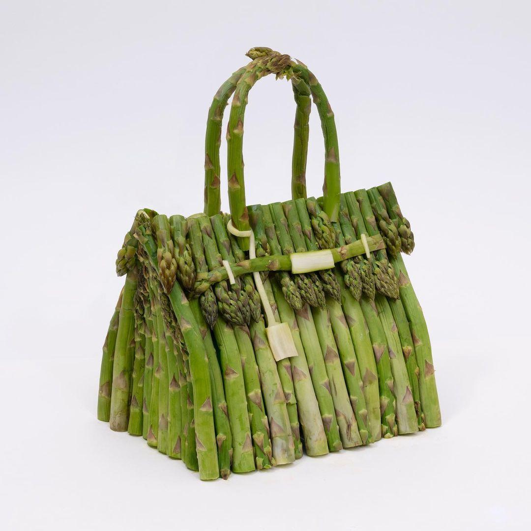 hermes vegetable bag - asparagus