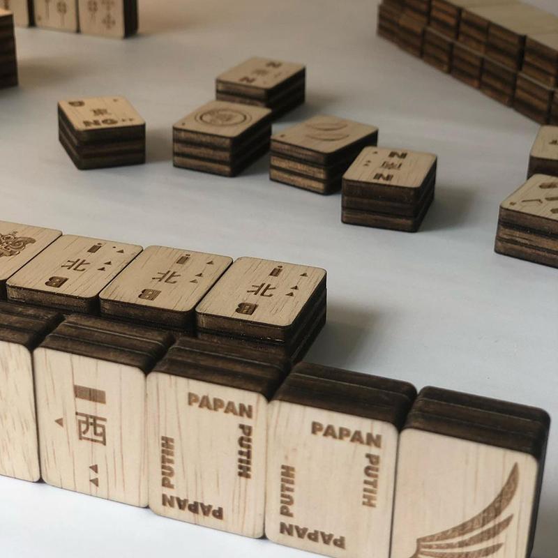 wood mahjong tiles